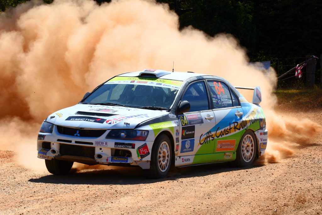 Coffs Harbour local, Nathan Quinn, raises the Rally Australia dust in the WRC round