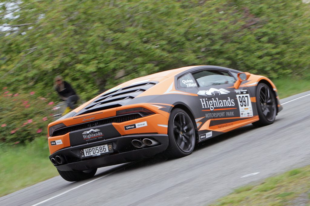 Tony Quinn and Naomi Tillett made a high profile to the event in Quinn's Lamborghini Huracan.