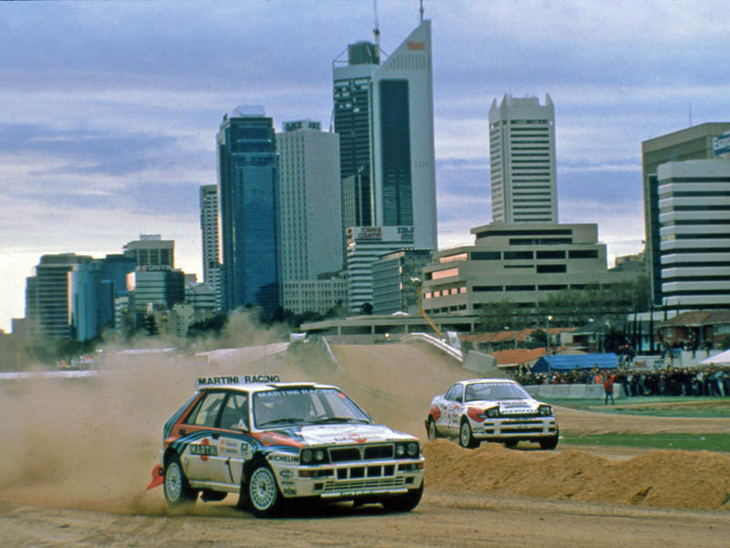 1992 - Juha Kankkunen/Juha Piironen (Lancia Delta Integrale) beating Carlos Sainz/Luis Moya (Toyota Celica Turbo 4WD) at the Perth Superspecial - Credit Martin Holmes Rallying