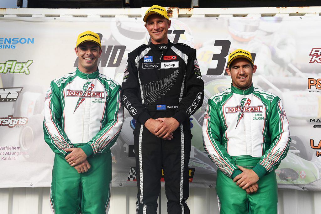 Scott sharing the podium (left) with class title winner Ryan Urban from Auckland and third placed Zach Zaloum from Hastings.