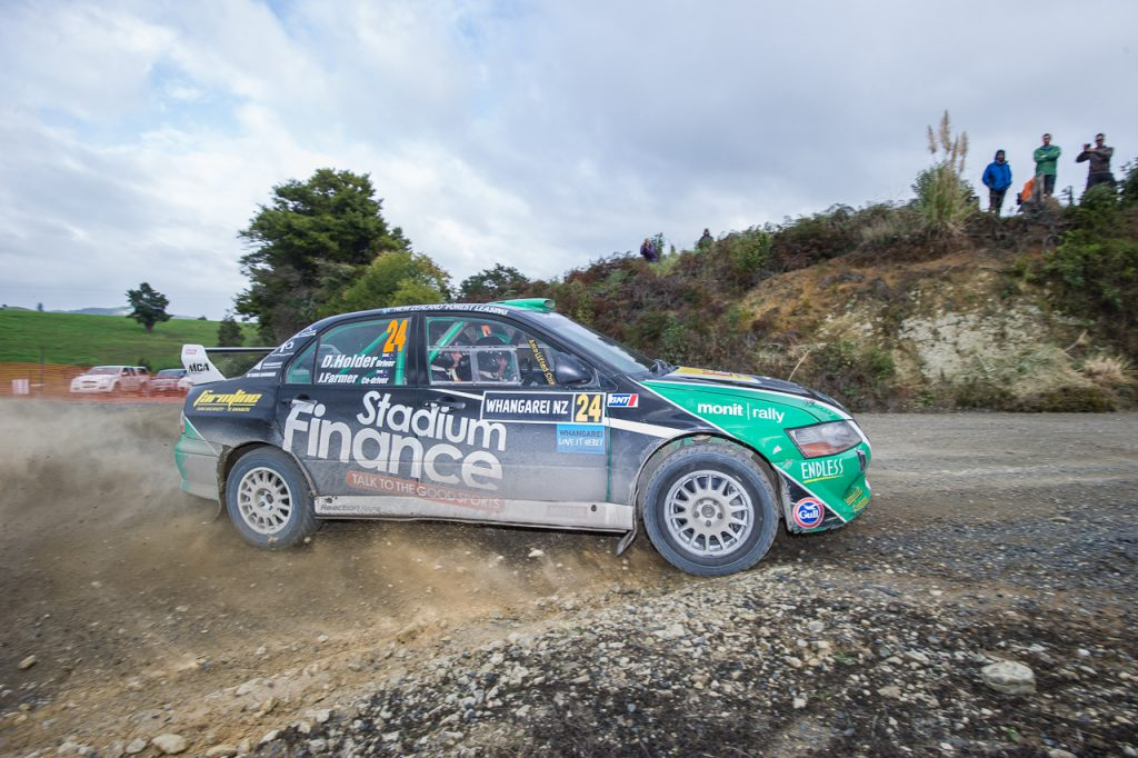 Dave Holder and Jason Farmer competing at Rally Whangarei in 2016