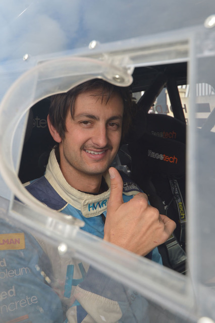 Dave Holder had the 'thumbs-up' despite mechanical issues at Rally Otago and eventually retiring out of the event.